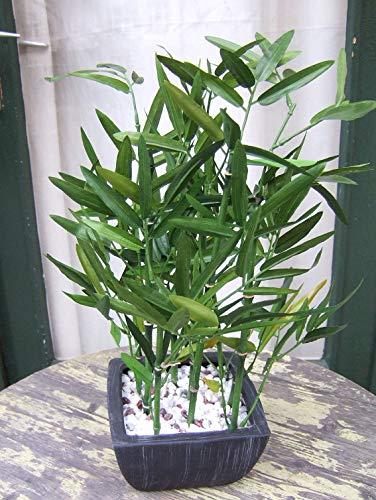 Licht & Grün exclusive Kunstpflanzen Künstlicher Bambus mit grünen Stangen im Keramik- Topf -Höhe max.ca. 45cm
