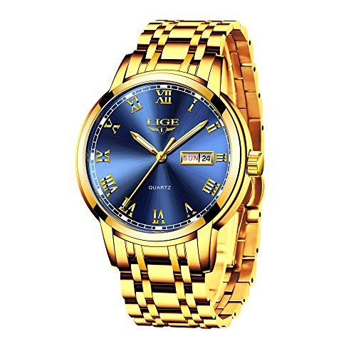 LIGE Relojes para Hombre Cronógrafo Impermeable Dorado Acero Inoxidable Reloj de Pulsera Vestir Negocio Analógicos Relojes