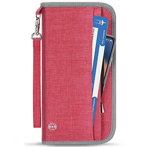 Vemingo Porte-Passeport Portefeuille de Voyage Familial avec Blocage RFID Porte-Document Pochette de 5 Passeports, Carte d'Identité, Carte de Crédit, Billets d'avion pour Femme Homme (Rose)