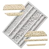 Neepanda DIY Baroque Scroll Relief Cake Border Silicone Molds, Baroque Style Curlicues Scroll Lace Fondant...