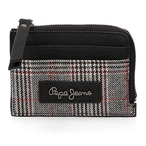 Pepe Jeans Grace Monedero con Tarjetero Negro 11,5x8x1,5 cms Piel Sintética
