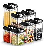 7pcs Botes Hermeticos Cocina Plastico Tarro almacenaje Alimentos con Tapa Recipiente Caja ...
