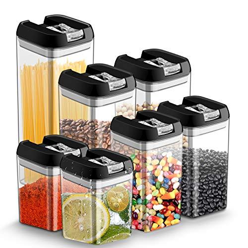 Chenci 7 Pezzi Contenitori Alimenti Set di Contenitori Pasta Trasparenti con Coperchio Plastica, Senza BPA,Contenitori per Cereali per Conservazione Cibi Spaghetti, caffè, Farina,Fagioli