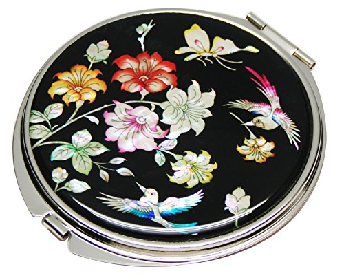 Mother of Pearl Red Pink Cherry Flower Design Double Compact Magnifying Cosmetic Makeup Purse Beauty Pocket Mirror by Antique Alive