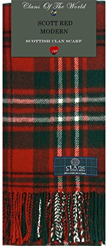 Scott Red Modern Tartan Clan Scarf 100% Soft Lambswool