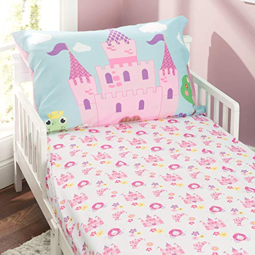 Everyday Kids Toddler Fitted Sheet and Pillowcase Set -Princess Storyland- Soft Breathable Microfiber Toddler Sheet Set