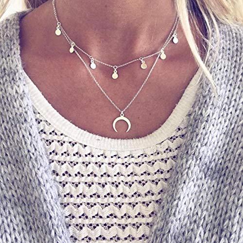 GUANQNN Moda Multicapa Lentejuelas Rhinestone Borla Colgantes Collar de Cadena Gargantilla Collar Mujer JoyeríaLuna Collar de Plata Antigua