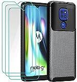 ivoler Funda para Motorola Moto E7 Plus/Moto G9 Play/Moto G9, con 3 Unidades Cristal Templado, Fibra de Carbono Carcasa Protectora Antigolpes Negro, Suave TPU Silicona Caso Anti-Choques Case Cover