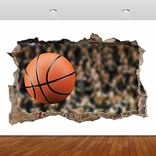 Basket Ball Player Net Hoop Smashed Wall Sticker 3D Ver Póster Vinilo Mural mural cartel papel tapiz 80x120CM