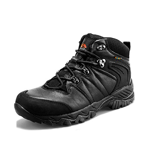 Clorts Women's Hiking Camping Boots Waterproof Leather Backpacking Hiker Shoes HKM-822D US 8.5 Black