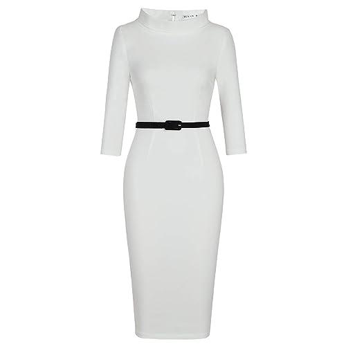 c22055591bb MUXXN Women s 1950s Vintage 3 4 Sleeve Elegant Collar Cocktail Evening Dress  Burgundy