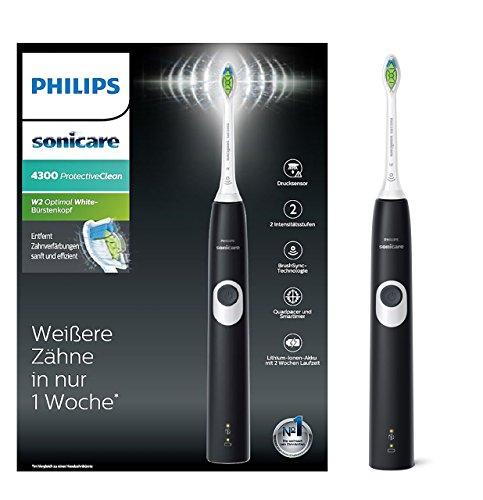 Philips Sonicare ProtectiveClean 4300 elektrische Zahnbürste HX6800/28 – Schallzahnbürste mit Clean-Putzprogramm, 2 Intensitäten, Andruckkontrolle & Timer – schwarz