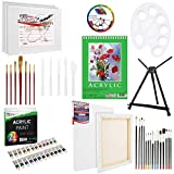 U.S Art Supply 60-Piece Deluxe Acrylic Painting Set with Aluminum Tabletop Easel, 24 Acrylic Colors, Acrylic...