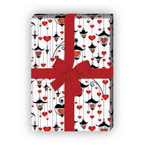 Kartenkaufrausch romantisch hart cadeaupapier set met lantaarns, wit, voor leuke geschenkverpakking, designpapier, scrapbooking 32 x 48 cm
