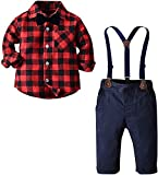 Baby Boy's Outfit, Long Sleeves Plaids Button Down Flannel Shirt with Bow Tie + Suspender Pants Set for Toddlers Baby & Little Boys, 2 Pieces Clothes, Red Black, Tag 130 = 4-5 Years