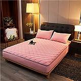 HAIBA Protector de colchón con borde de ajuste, también adecuado para camas con somier y camas de agua, microfibra, 100% poliéster, color rosa, 180 x 200 cm + 30 cm