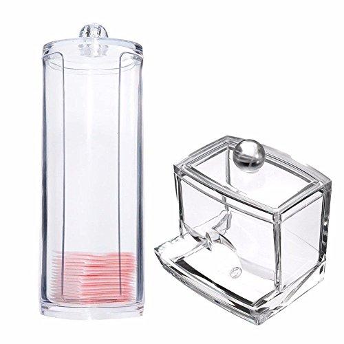 Espeedy Transparente runde Behälter-Speicher-Fall-Verfassungs-Wattepad Box + Acryl Cotton Swab-Speicher-Halter-Kasten