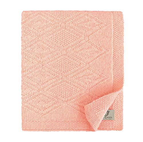 Linen & Cotton Couverture Maille Bébé/Plaid Tricoté Lilou pour Garçon, Fille, Naissance Été Hiver -100% Pure Laine de Nouvelle-Zélande, Rose Pink (120 x 150cm) Édredon/Dessus de Lit pour Poussette