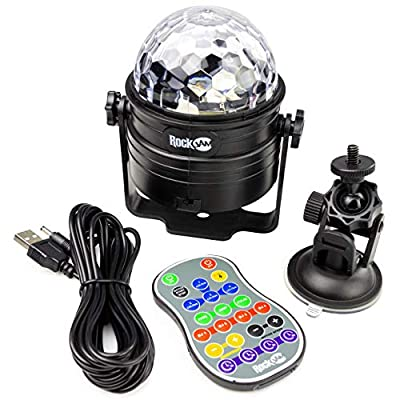 RockJam RJDL100 Rechargeable Wireless Party Lights 6Watt LED Sound Activated Disco Ball with Remote Control