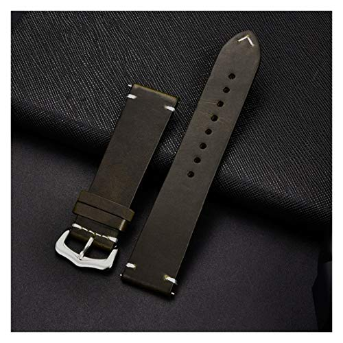 okkpbg Men's strap Retro Genuine Leather Strap Oil Wax Oily Discoloration Cowhide Leather Watchband 18 20 22 24mm Business Watch Band Casual and beautiful