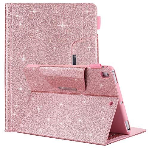 iPad Mini 4 Case, Mini 3 / Mini 2 / Mini Cover, Business Simplicity Glitter Sparkle Premium Leather Wallet Stand Smart Cover with Auto Wake/Sleep Function for Apple iPad Mini 1 / 2 / 3 / 4,Rose Gold