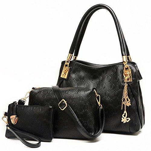 3 teiliges Damen Handtaschenset im Vintage Style Henkeltasche Crossbody Tasche Handgelenktasche (schwarz)