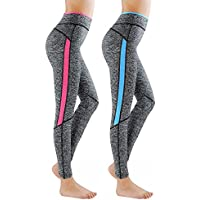 GoVIA Paquete de 2 L&K-II Leggins para Damas Pantalones Deportivos Largos para Training Running Yoga Fitness Transpirables con Cintura Alta 4113 Rosa+Azul S/M
