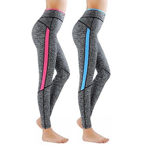 L&K-II 2er Pack Damen Sport Leggings Laufhose Yoga Pants Strech Trainingshose 4113 Neonpink & Neonblau S/M