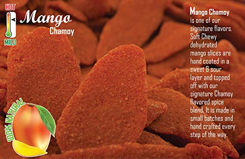 Mango Chamoy 12 Pack | Medium Spicy | Healthy Portion Size | Mess Free | Soft Chewy Mango Slices | Handmade, Resealable, Fresh, Delicious | For Adults, Kids, Birthdays, Party Favors, Snacks & More