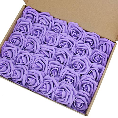 MACTING Artificial Flower Rose, 30pcs Real Touch Artificial Roses for DIY Bouquets Wedding Party Baby Shower Home Decor(Lavender)