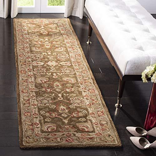 Safavieh Anatolia Collection AN512F Handmade Traditional Oriental Brown and Green Premium Wool Runner (2'3' x 8')