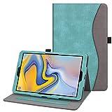 Fintie Hülle für Samsung Galaxy Tab A 10.5 2018 - Multi-Winkel Betrachtung Kunstleder Schutzhülle mit Dokumentschlitze, Auto Sleep/Wake für Samsung Tab A 10.5 SM-T590/T595, Jeansoptik Türkis