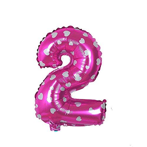 EROSPA® Luftballon Zahl 2 - Geburtstag Hochzeit Ziffern Folie Feier 40 cm - pink (2)