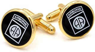 82nd Airborne Emblem Engraved on Onyx Cufflinks. Made in the USA