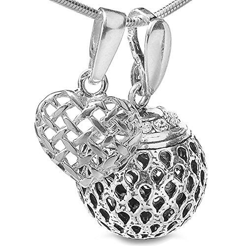3 tlg. Set Engel Schutz Glückskugel & Herz Anhänger & Schlangen Halskette Echt Silber 925 & Geschenkbox #1510