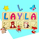 Wooden Name Puzzle Personalized for Toddlers Baby Girl & Boy...
