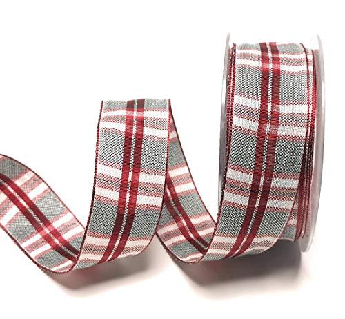 Mabella Schleifenband 15m x 40mm Rot - Grün - Weiß kariert Weihnachtsband Dekoband Geschenkband [2876]