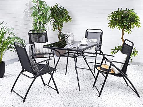 Beliani - Table de Jardin 80 x 80 cm et 4 Chaises - Livo - en Acier et Textile, Noir