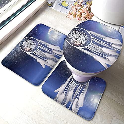 SHEYZYLTD Lot de 3 tapis de bain attrape-rêves blanc fantaisie, tapis de bain + tapis contour + housse d