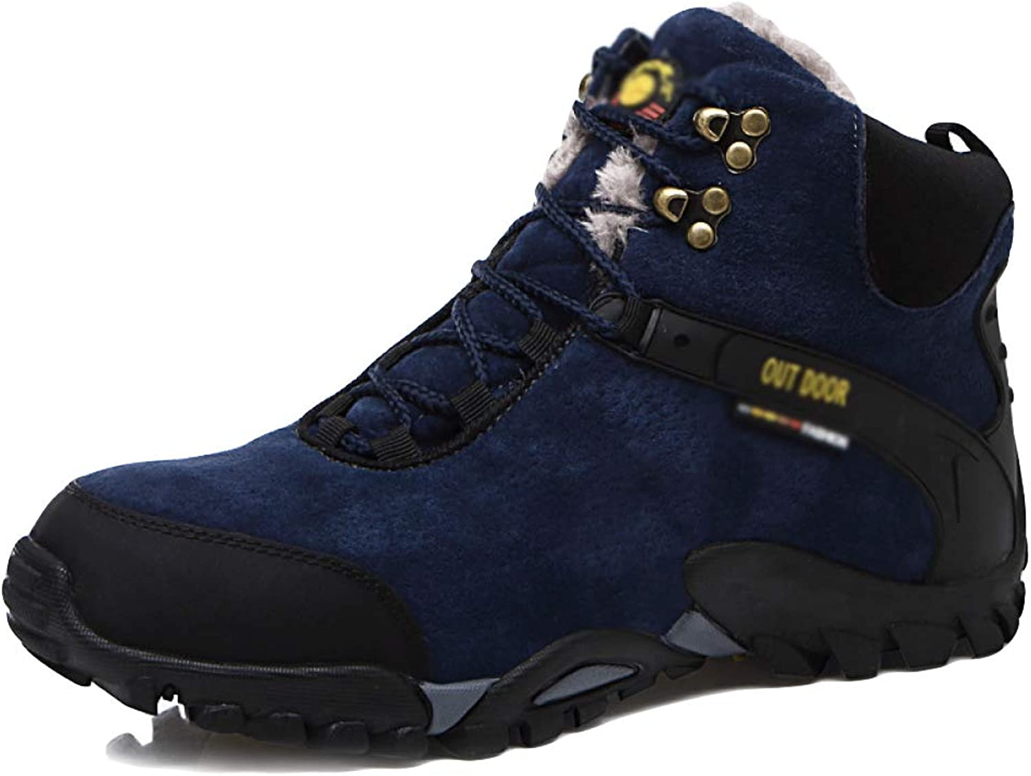 JINGRONG Mens High Help Cotton shoes Plus Velvet Warm Outdoor Sports shoes Non-Slip Hiking Boots Snow Boots(bluee and Black)