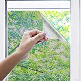 Uiter Film Miroir Fenêtre Film Anti-UV pour Vitres Static Bloquage A 100% De La Lumière pour La Protection De La Vie Privée...