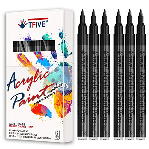 Black Marker Paint Pens - 6 Pack Acrylic Black Permanent Marker, 0.7mm Extra Fine Tip Paint Pen for Art projects, Drawing, Rock Painting, Stone, Ceramic, Glass, Wood, Plastic, Metal, Canvas DIY Crafts