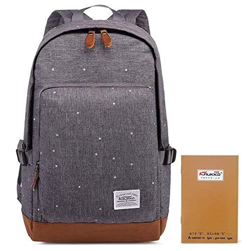Kaukko Damen Rucksack Studenten Backpack Laptop College Schulrucksack Reiseeucksack, Large, Grau