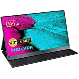 Portable Monitor, Upgraded 17.3 Inch 144HZ FreeSync IPS HDR 100% sRGB 1920X1080 FHD Eye Care Screen USB C Gaming Monitor, Dual Speaker Type-C HDMI VESA for Laptop PC MAC Phone with Smart Case