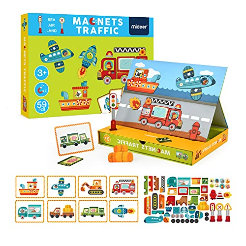 MiDeer Magnetic Jigsaw Puzzles,59 Pcs Traffic Puzzle Board with Drawers Imagination Magnets Magnetic...