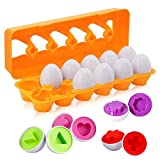 BYBOT 12 Piezas Rompecabezas de Huevos Color y Forma Juguetes Educativos,...