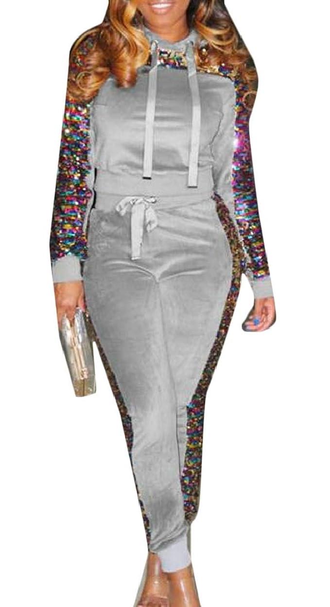 十分です熱狂的な発音する女性スパンコール2ピース衣装プルオーバーフーディーとパンツセットトラックスーツ