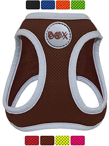 DDOXX Brustgeschirr Air Mesh, Step-In, reflektierend, verstellbar, gepolstert | viele Farben & Größen | für kleine & mittlere Hunde | Hunde-Geschirr Hund Katze Welpe | Katzen-Geschirr | Braun, S