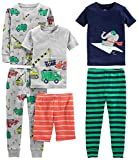 Simple Joys by Carter's Boys' Toddler 6-Piece Snug Fit Cotton Pajama Set, Transportation/Elephant/Stripes, 3T