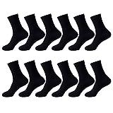 12 Paar LundK-II Herren Socken Schwarz Business Freizeit Baumwolle P92216 43-47